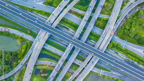 Traffic trails on highway intersection