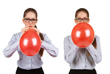 Girl Inflates A Red Ball