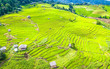 Leinwanddruck Bild - Aerial view amazing landscape rice terraces in a beautiful day Chiang Mai Thailand
