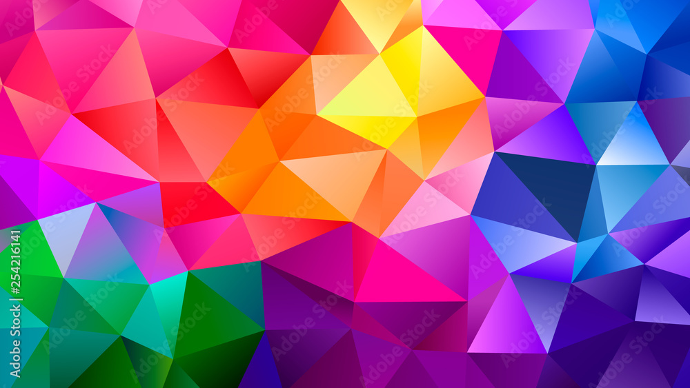 Fototapeta Color Blend Rainbow Trendy Low Poly BG Design