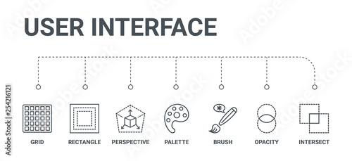 Valokuva simple set of 7 line icons such as intersect, opacity, brush, palette, perspecti