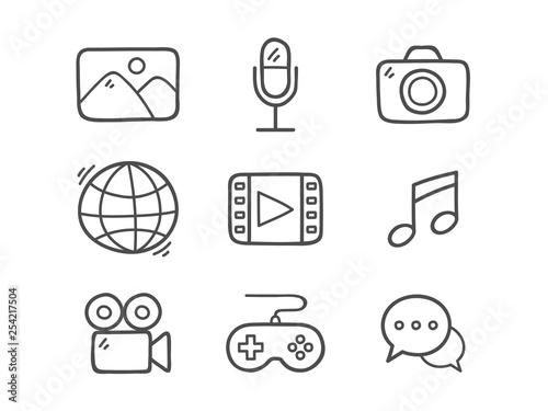 Cuadros en Lienzo  Doodle Multimedia Icons.