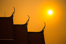 Temple In Thailand With Sunset