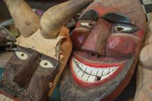 Holzmaske (Buscho-Maske) In Der Werkstatt Der Maskenschnitzer Von Antal Englert In Mohatsch, Ungarn, Nahaufnahmen