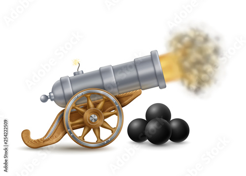 Photo Big Cannon and Cannonballs