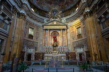 Panoramic View Of Interior Of Church Of The Gesu