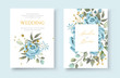 Wedding floral golden invitation card envelope save the date with navy blue rose