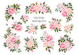 Fototapeta Kwiaty - Set of bouquets pale pink and peachy flower roses with green leaves