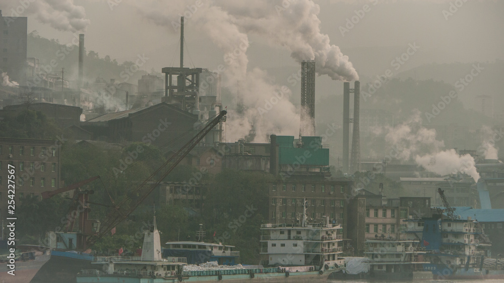 Fototapeta air pollution by industry