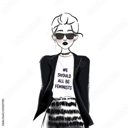 Black and white fashion sketch with feminist quote Wall mural