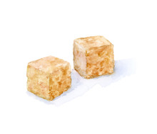 Watercolor Hand Drawn Sugar Cube Isolated Illustration.