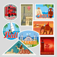Set Of Various Travel Labels. ...