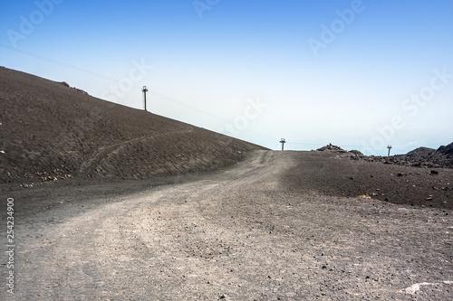 Vászonkép  Mountain road on Etna volcano