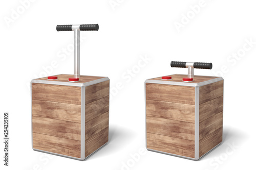 Papel de parede  3d rendering of two tnt detonator boxes isolated on white background