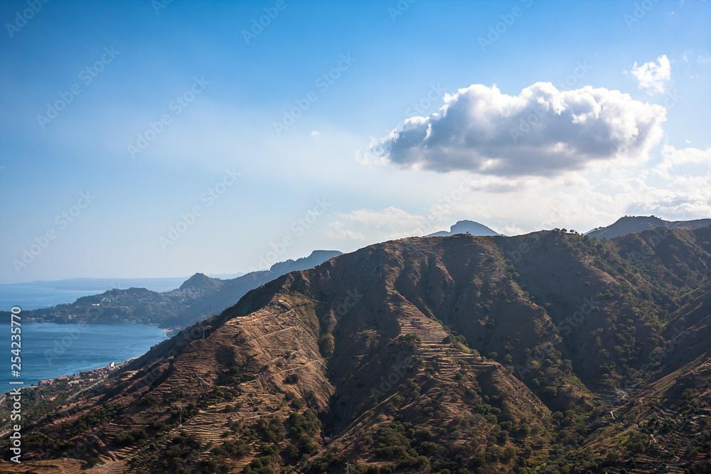 Fényképezés  The volcanic landscape. Sicily