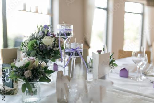 Fotografie, Obraz  Tischdekoration lila weiß