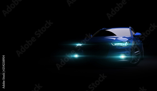 Fototapeta Stylish car on a black background with led lights on. Futuristic modern vehicle head light xenon on dark. 3d render obraz na płótnie