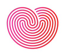 Love Symbol. Red Heart, Linear...