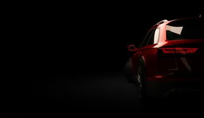 Stylish car on a black background with led lights on. Futuristic modern vehic...