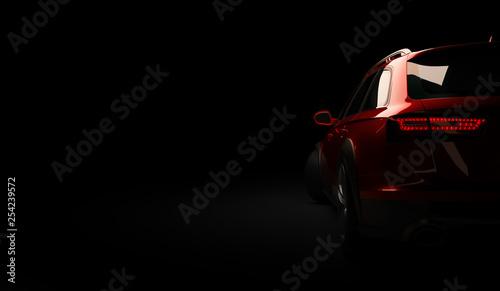 Obraz Stylish car on a black background with led lights on. Futuristic modern vehicle head light xenon on dark. 3d render - fototapety do salonu