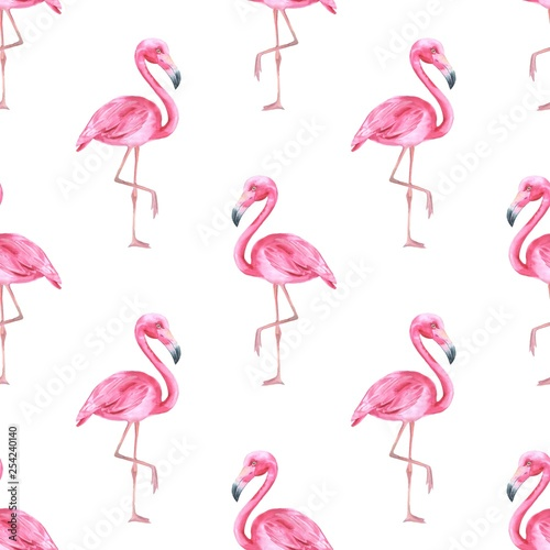Fotobehang Flamingo vogel Tropical bird. Pink flamingo. Watercolor seamless pattern