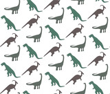 Fototapeta Dinusie - Seamless pattern with colorful dinosaurs on the white background