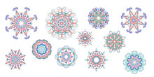 Set Of Elegant Hand-drawn Round Watercolor Patterns Of Geometric Motifs In Art Nouveau Style And Medieval Miniatures. Abstract Flowing Elements In Delicate And Romantic Shades Of Pink, Green And Blue