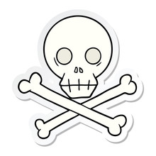 Sticker Of A Cartoon Skull And Crossbones