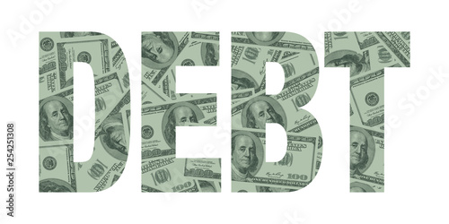 Debt and Money Word Concept, Hundred Dollar Bills Canvas Print