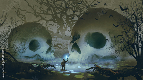 Fotografia man with a magic torch walking in the haunted swamp, digital art style, illustra