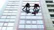 canvas print picture - Two industrial climbers are washing, cleaning facade of a modern office building