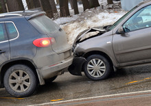 Collision Of Two Cars On Road In Winter