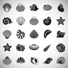 Sea Shell Icons Set On White Background For Graphic And Web Design. Simple Vector Sign. Internet Concept Symbol For Website Button Or Mobile App.