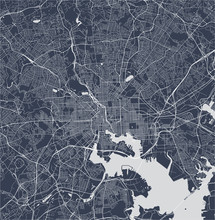 Map Of The City Of Baltimore, Maryland, USA