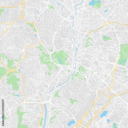 Downtown vector map of Kuala Lumpur, Malaysia Wallpaper Mural