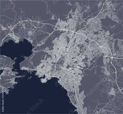 map of the city of Athens, Greece Wallpaper Mural