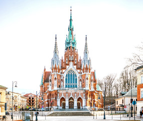 POLAND, KRAKOW - FEBRUARY 23, 2019: Church Joseph (Parish of St. Joseph) - a historic Roman Catholic church in south-central part of Krakow. Was built 1905-1909 and designed by Jana Sas-Zubrzyckiego.