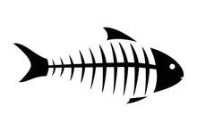 Fish Skeleton Line Icon. Icon Of Fishbone. Fish Skeleton On A White Background. Fish Menu Vector Illustration