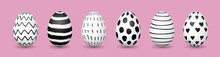 Easter Eggs In Row On Pink Background. Hand Drawn Black And White Ink Pattern. Horizontal Web Banner