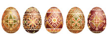 Pysanky Easter Eggs Isolated On White. Traditional Ukrainian Easter Eggs.