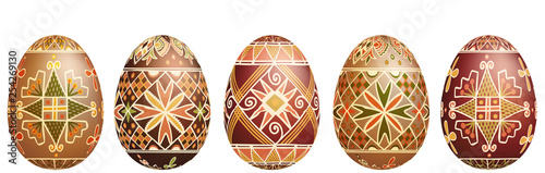 Photo  Pysanky easter eggs isolated on white