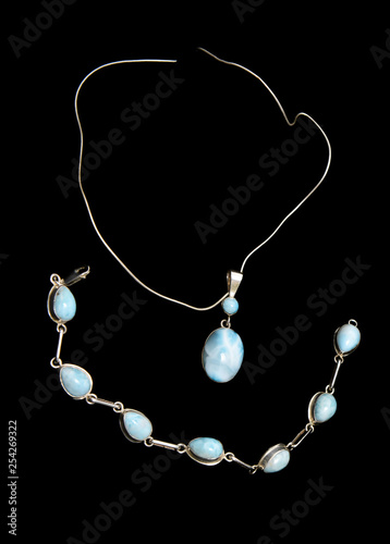 Silver chain and big larimar stone pedant Fototapet
