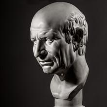 White Gypsum Statue Of Cicero's Head On Black Background - Photo Image