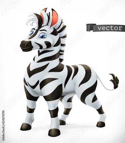 Postać z kreskówki zebry. Śmieszne zwierzę, 3d wektor ikona