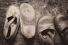 Children Vintage Shoes On Old ...