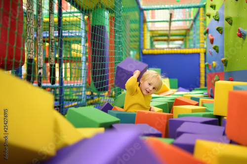 Photo  Cute little boy plays with soft cubes in the dry pool in play center