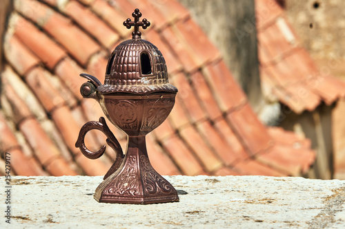 Fotografija  Brass, small censer in an Orthodox monastery on the island of Crete