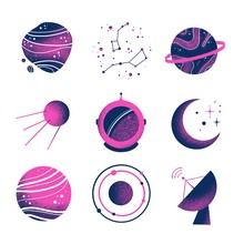 Space Galaxy Planet Icons