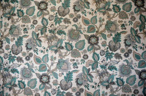 Kitsch textile. Vintage floral pattern wallpaper tapestry. Canvas-taulu