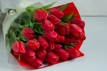 Spring Flowers. Bouquet Of Red...